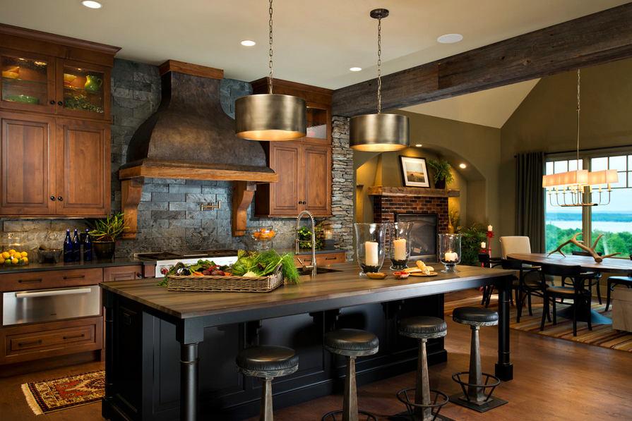 Кухня в цветах: черный, светло-серый, темно-зеленый, коричневый, бежевый. Кухня в стиле кантри.