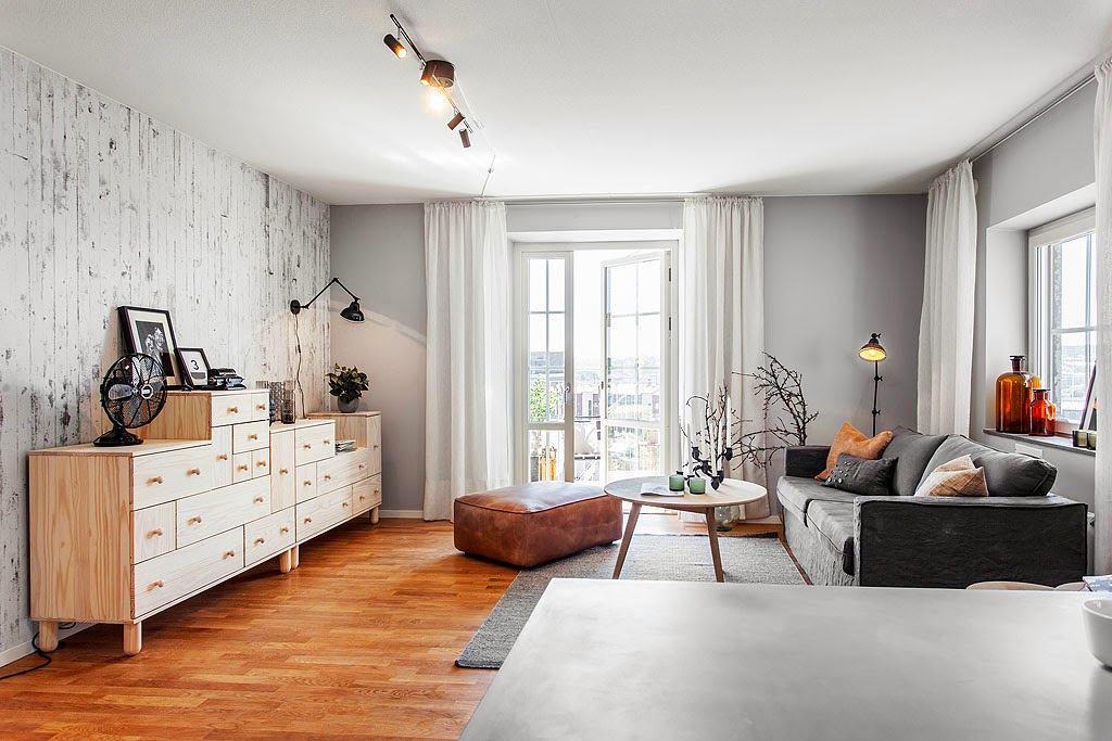 Гостиная, холл в цветах: черный, серый, белый, бежевый. Гостиная, холл в стиле скандинавский стиль.