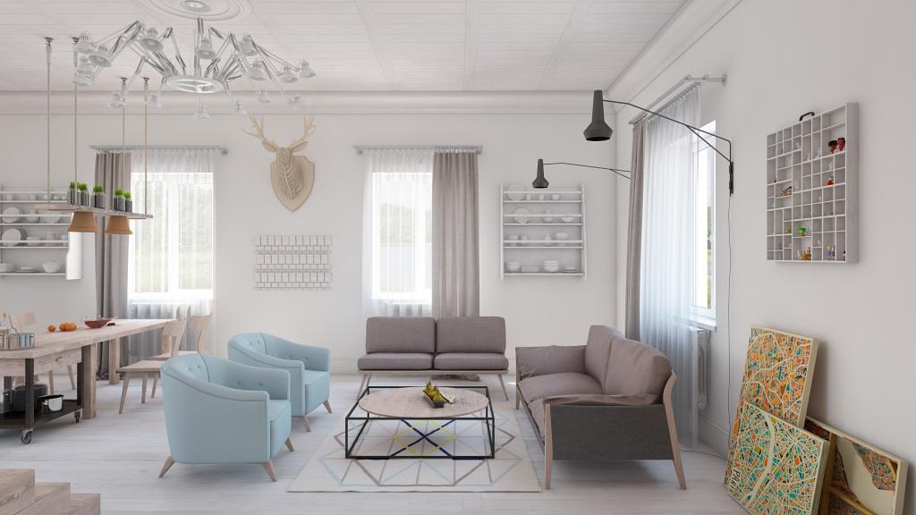 Гостиная, холл в цветах: голубой, серый, светло-серый, белый, коричневый. Гостиная, холл в стилях: экологический стиль, эклектика.