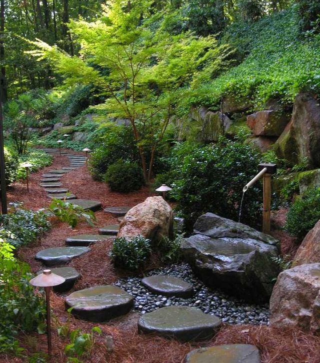 Ландшафт в цветах: серый, темно-зеленый, коричневый. Ландшафт в стиле экологический стиль.