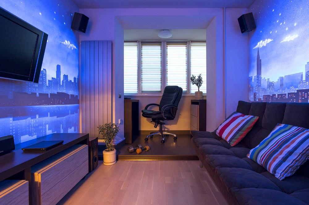 Гостиная, холл в цветах: голубой, фиолетовый, черный, коричневый. Гостиная, холл в стиле минимализм.