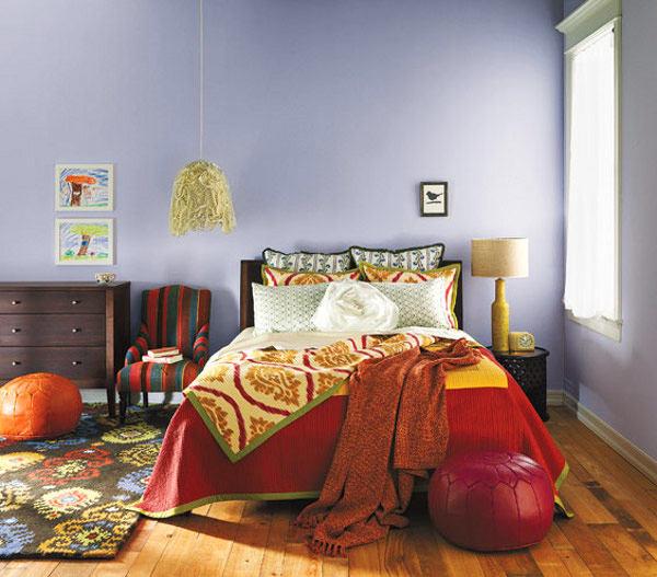 Мебель и предметы интерьера в цветах: оранжевый, фиолетовый, серый, белый, бордовый. Мебель и предметы интерьера в стиле эклектика.