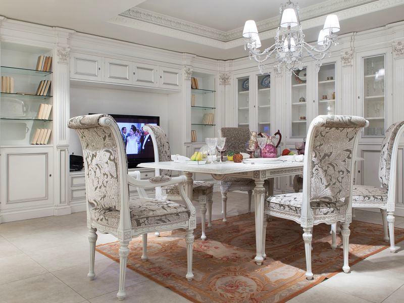 Столовая в цветах: серый, белый, коричневый, бежевый. Столовая в стиле классика.