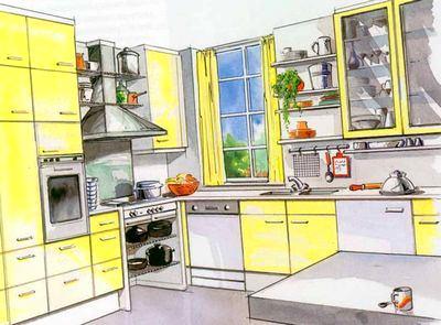 Кухня в цветах: серый, светло-серый, белый, лимонный. Кухня в стиле классика.