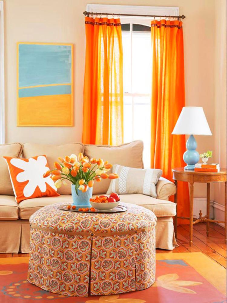 Гостиная, холл в цветах: оранжевый, желтый, бежевый. Гостиная, холл в стилях: американский стиль.